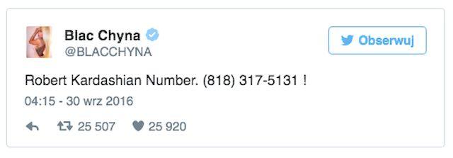 Blac Chyna udostępniła numer telefonu Roba Kardashiana na Twitterze!
