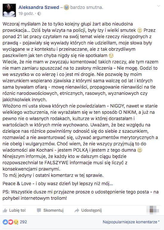 Aleksandra Szwed ofiarąbezczelnej prowokacji! Sprawa trafiła na policję