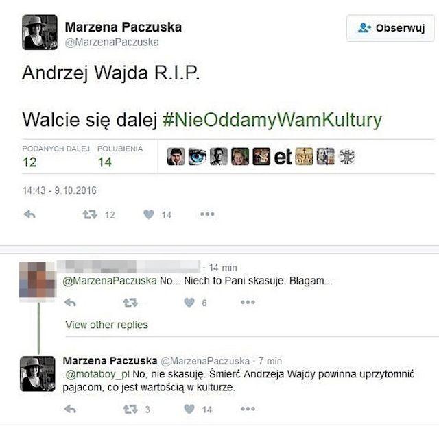 Skandaliczny wpis szefowej Wiadomości po śmierci Andrzeja Wajdy!