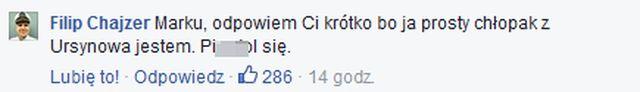 ostre s�owa Filipa Chajzera do hejtera: Ja prosty ch�opak jestem. Pi**dol si�!