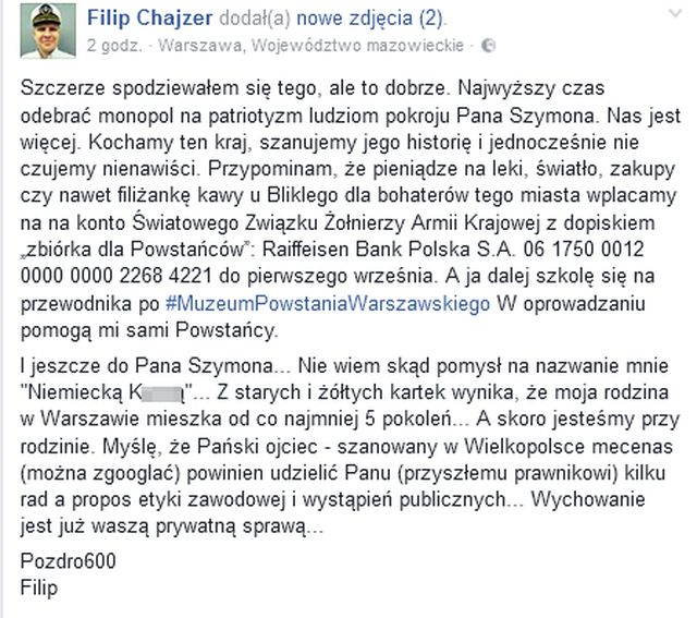 Filip Chajzer publikuje dane hejtera! To syn znanego prawnika