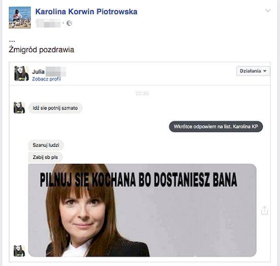 Psychofanki Patryka Pniewskiego atakują Korwin Piotrowską!