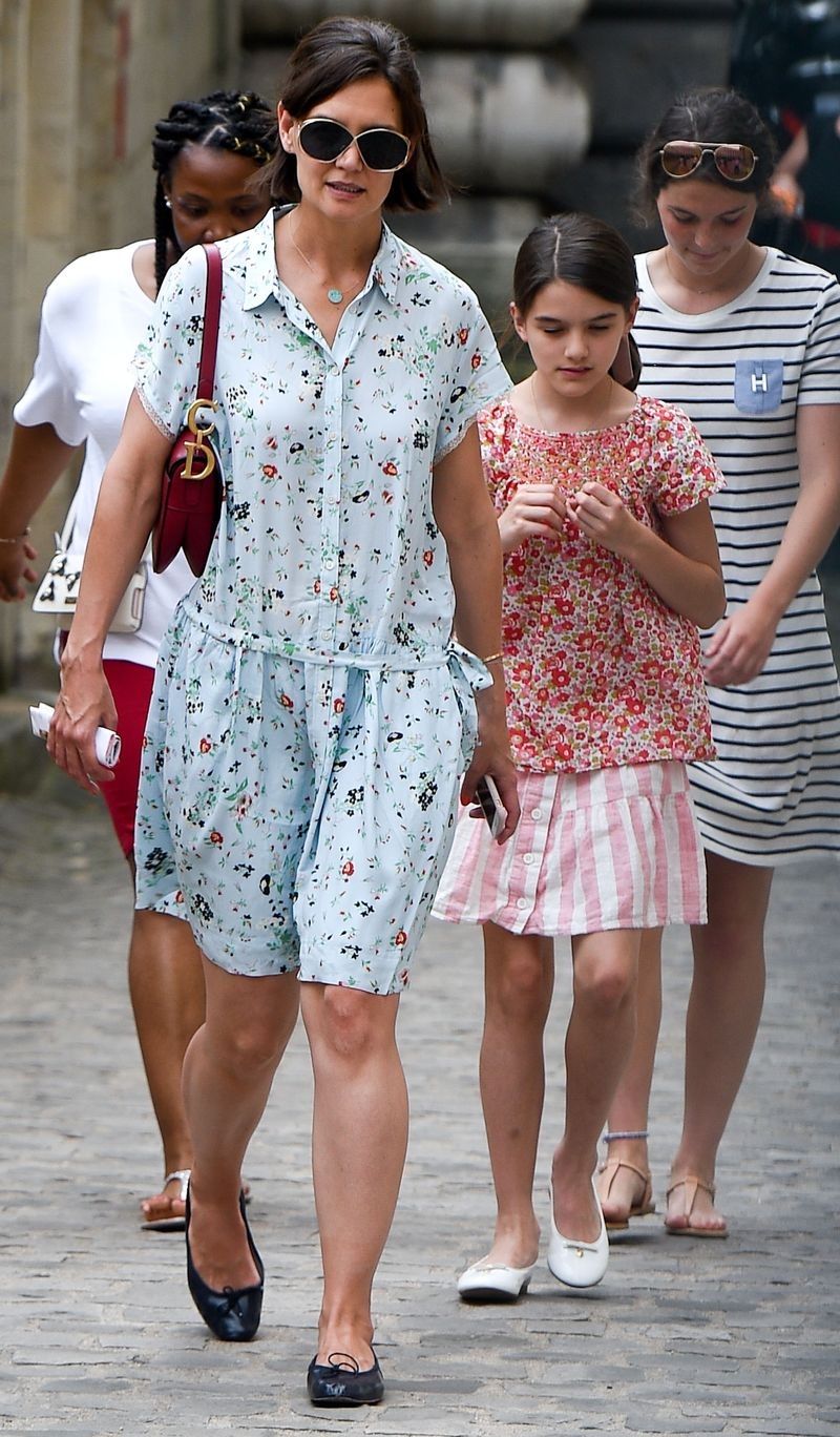 Katie Holmes is seen with her daughter Suri Cruise as they visit the Louvre in Paris