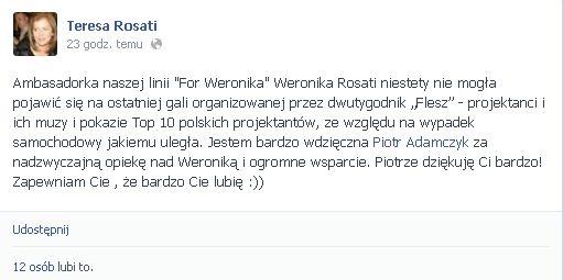 Uraz Weroniki Rosati jest poważniejszy niż informowano?