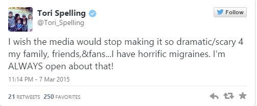 Tori Spelling niespodziewanie trafiła do szpitala