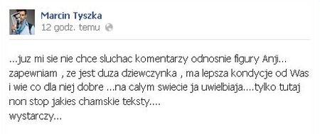 Marcin Tyszka broni szczupłych kształtów Anji Rubik