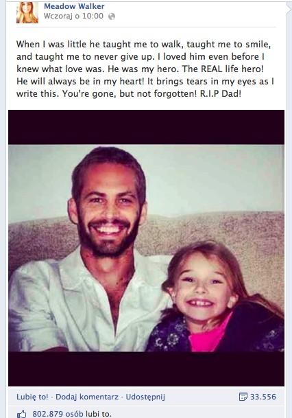 Córka Paula Walkera cudem uniknęła śmierci