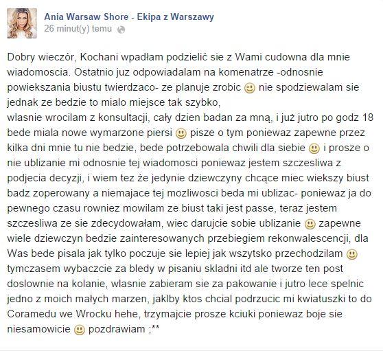 Ania z Warsaw Shore: Jutro będę miała nowe piersi!