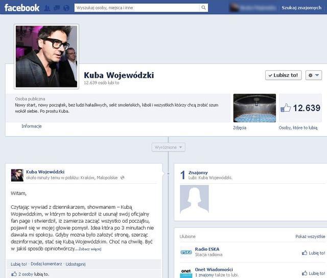 Nowe profile Wojewódzkiego na Facebooku są fałszywe