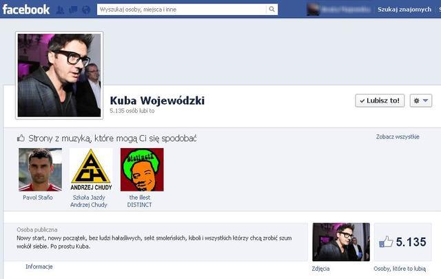 Kuba Wojewódzki ma już nowy profil na Facebooku