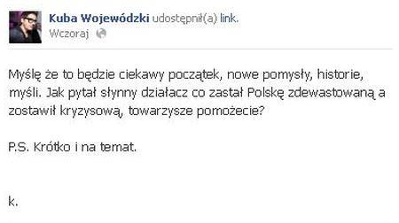 Kuba Wojew�dzki ma ju� nowy profil na Facebooku