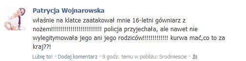 Patrycja Wojnarowska zaatakowana NOŻEM!