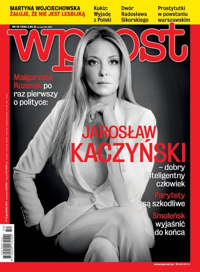 Małgorzata Rozenek na okładce WPROST o Kaczyńskim