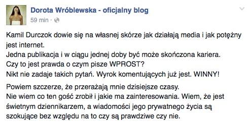 Dorota Wróblewska przerażona aferą z Kamilem Durczokiem