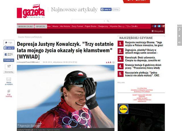 Justyna Kowalczyk: Tak, BY�AM W CI��Y, poroni�am rok temu
