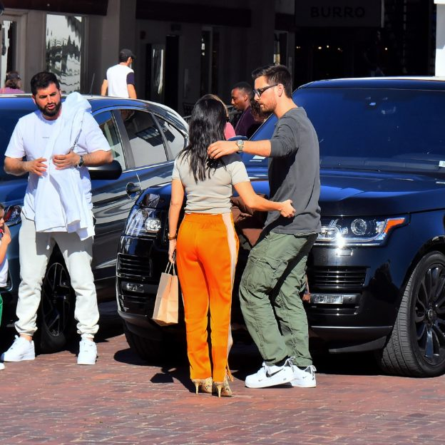 Kourtney Kardashian meets up with ex Scott Disick to drop off daughter Reign in Malibu, CA.