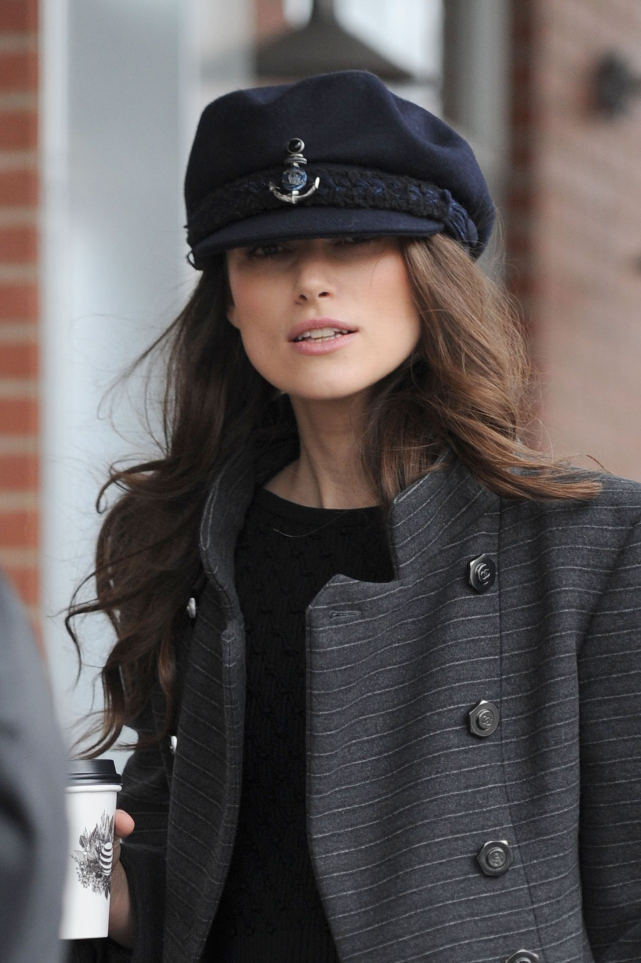 Kiera Knightly grabs a morning coffee wearing a Sailor's hat at Sundance