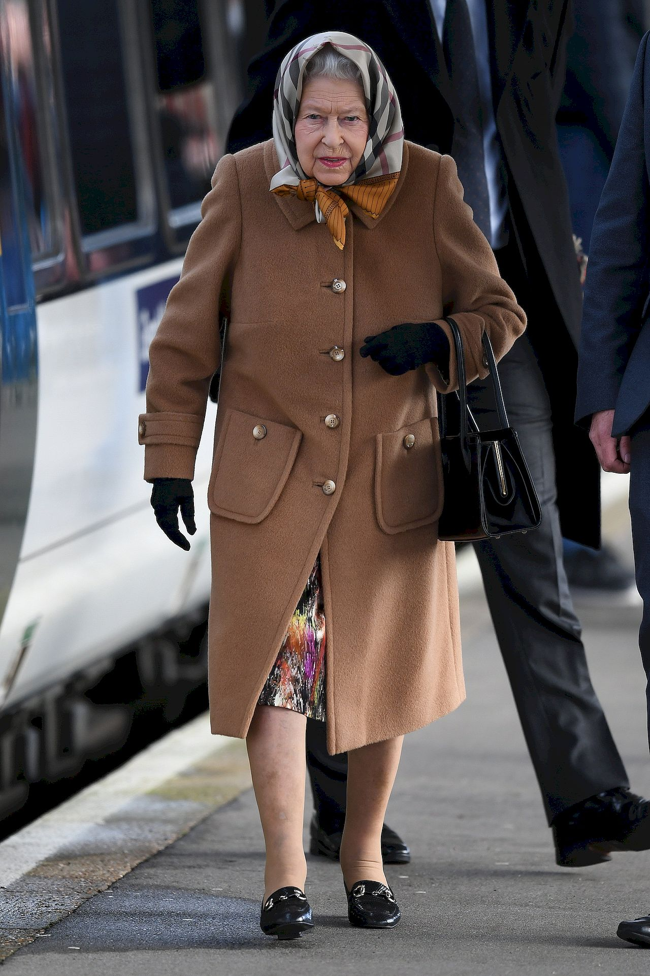 The Queen arrives at Kings Lynn Station for Christmas