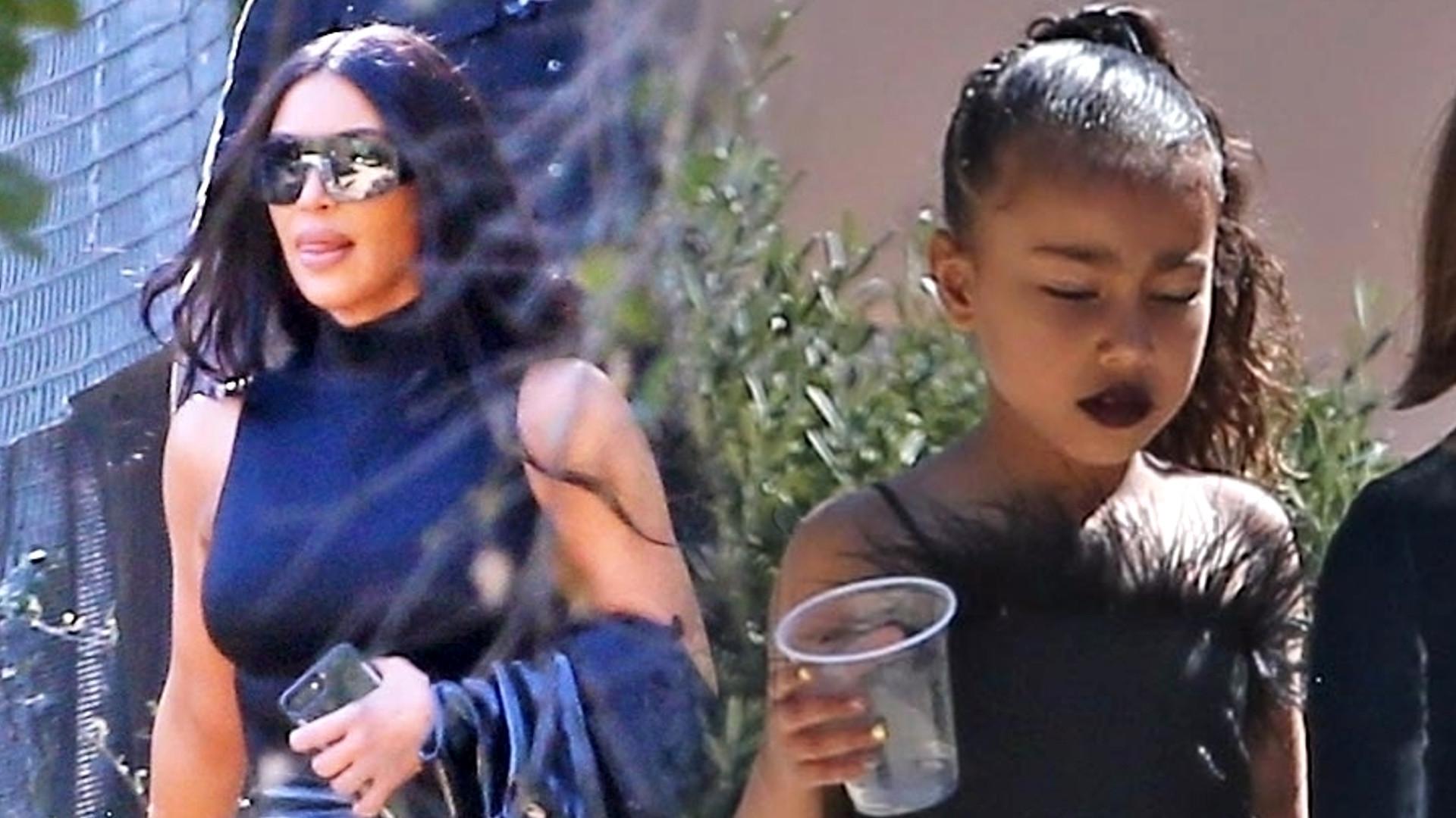 Tak Kim Kardashian wystroiła 5-letnią North – czarna sukienka z futrem i MOCNY makijaż (ZDJĘCIA)
