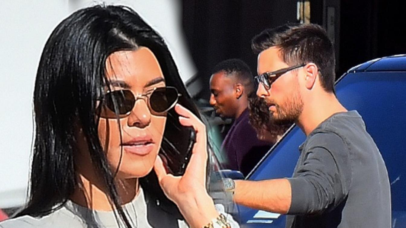 Kourtney Kardashian w jaskrawych spodniach przytula się ze Scottem Disickiem