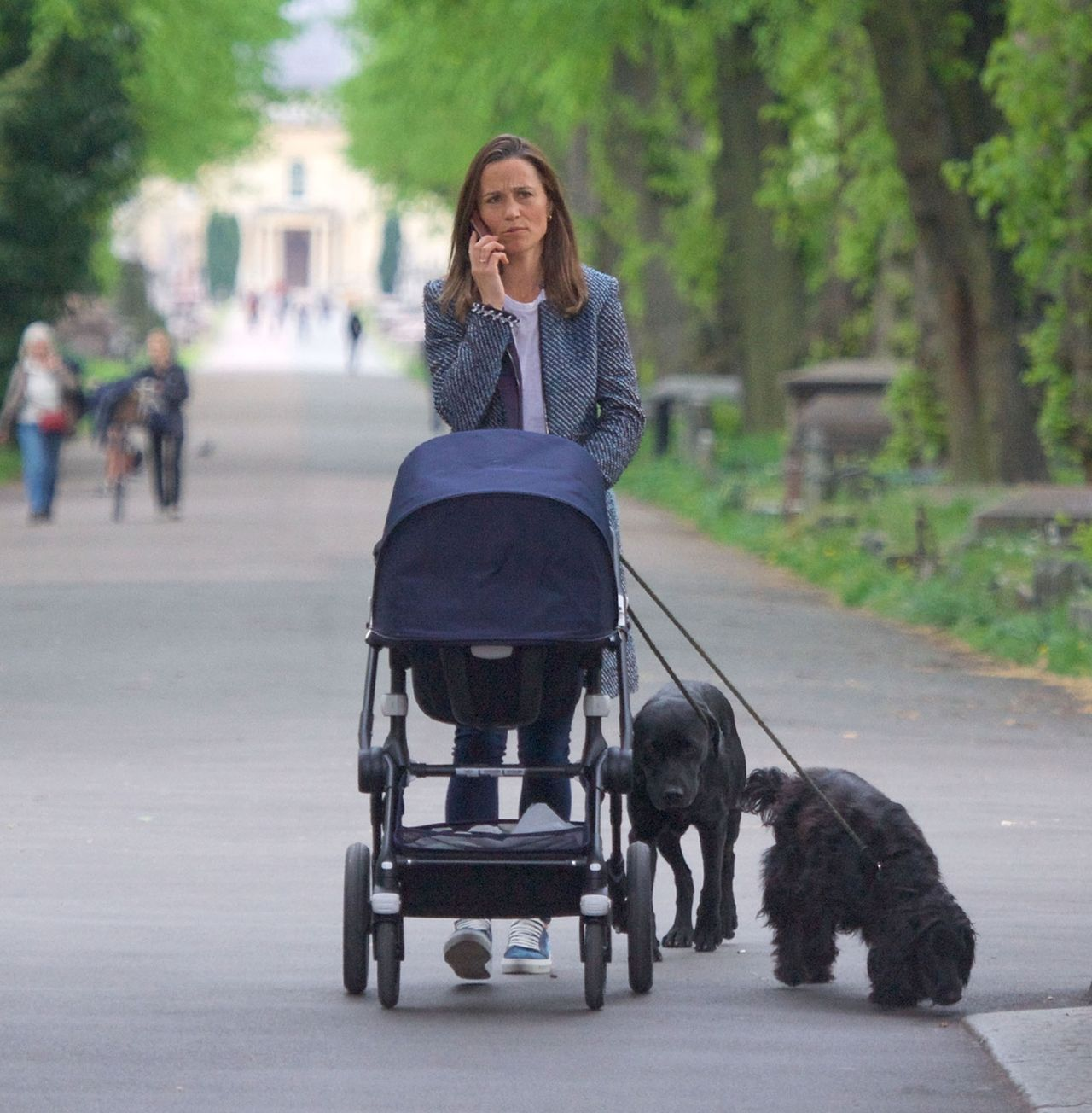 *EXCLUSIVE* *WEB MUST CALL FOR PRICING* Pippa Middleton is out walking her dogs along with her baby son Arthur for a brisk walk in the park