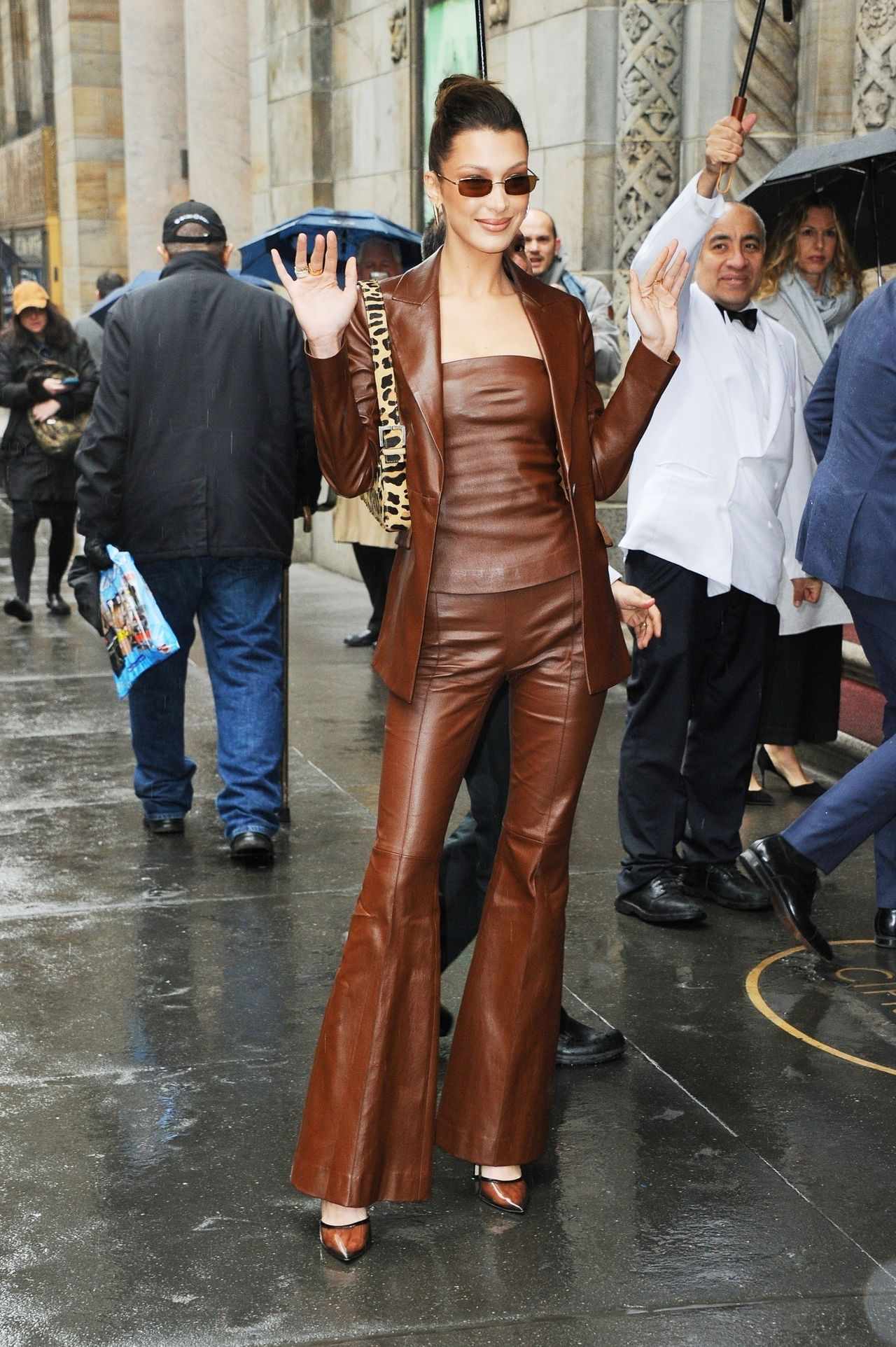 Bella Hadid matches her leather ensemble for