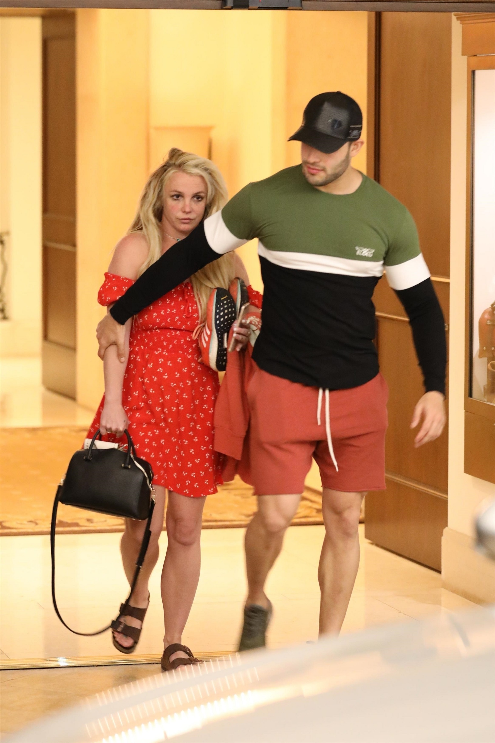 *PREMIUM-EXCLUSIVE* Britney Spears is seen leaving The Montage hotel in Beverly Hills after a day of indulgences Britney Spears and Sam Asghari