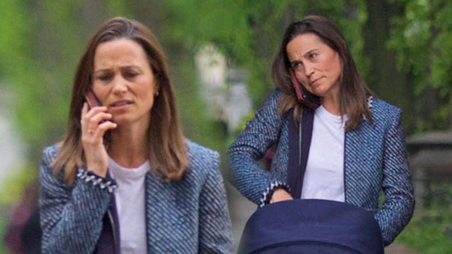 Zmęczona Pippa Middleton spaceruje z wózkiem – ostatnia noc chyba była nieprzespana (ZDJĘCIA)