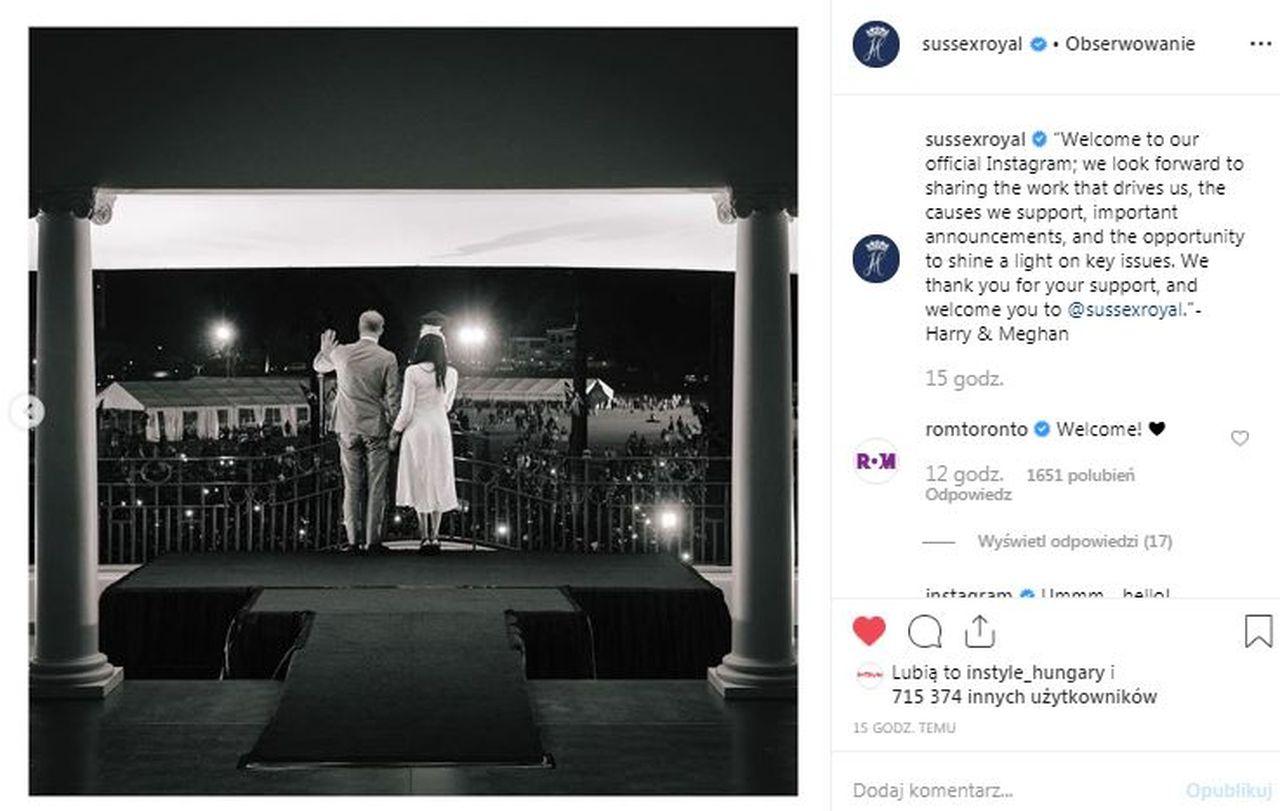 Instagram Meghan Markle i księcia Harry'ego