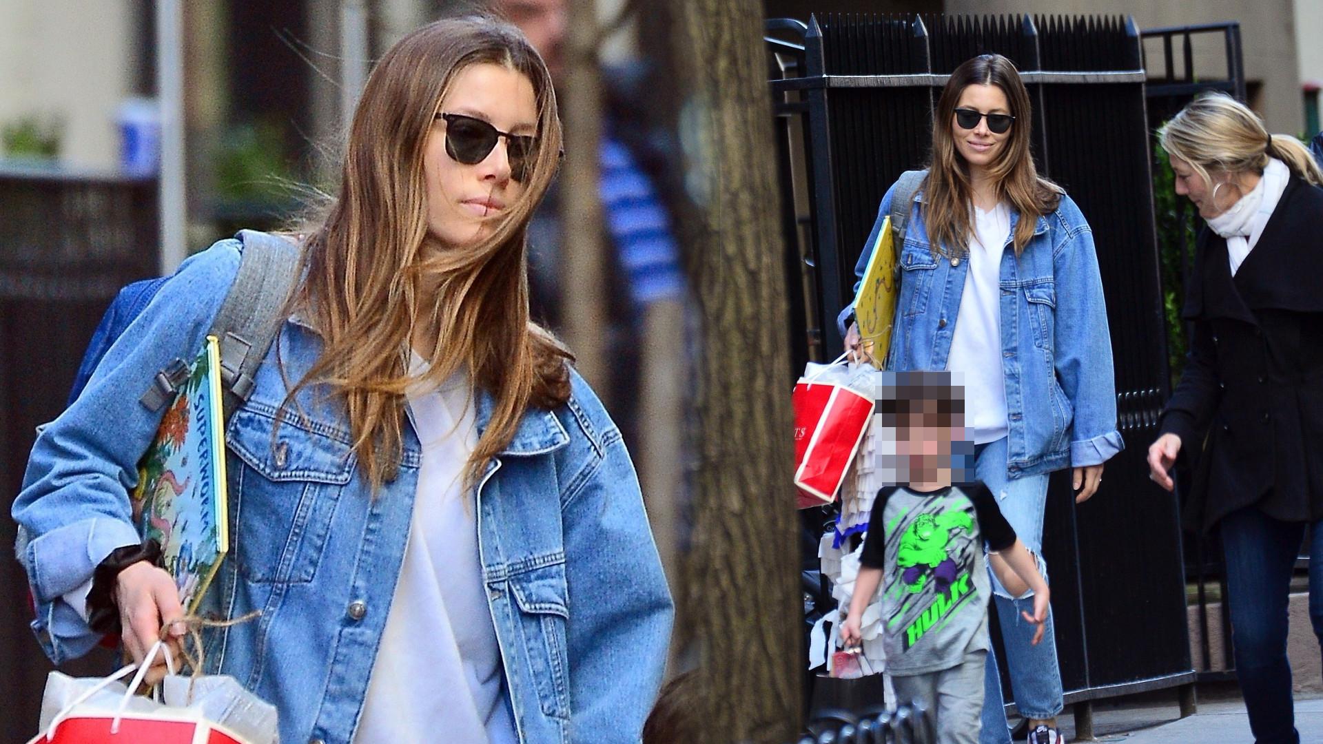 Jessica Biel odbiera 4-letniego syna Silasa z przyjęcia urodzinowego (ZDJĘCIA)