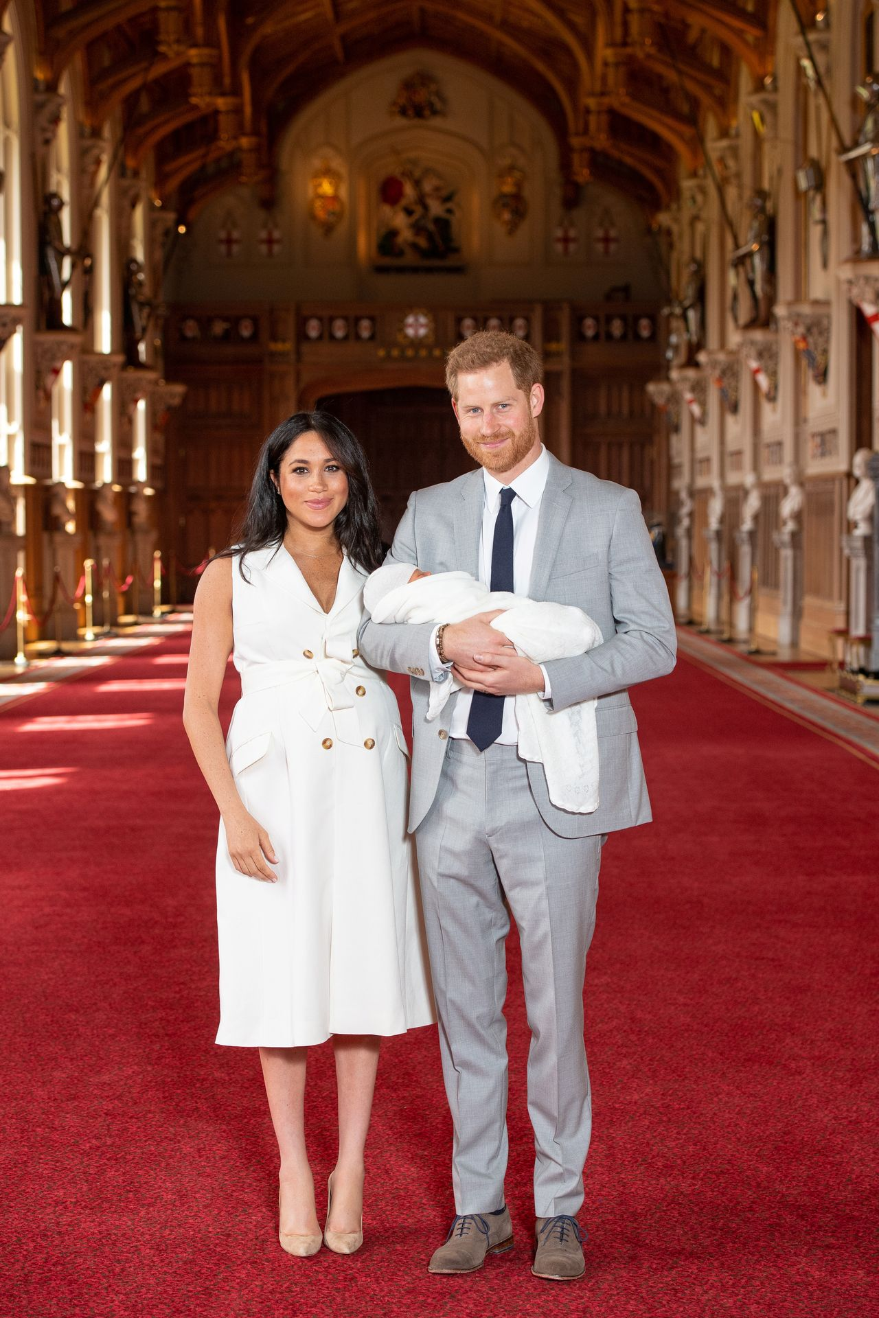 Britain's Prince Harry and Meghan, Duchess of Sussex are seen with their baby son at Windsor Castle