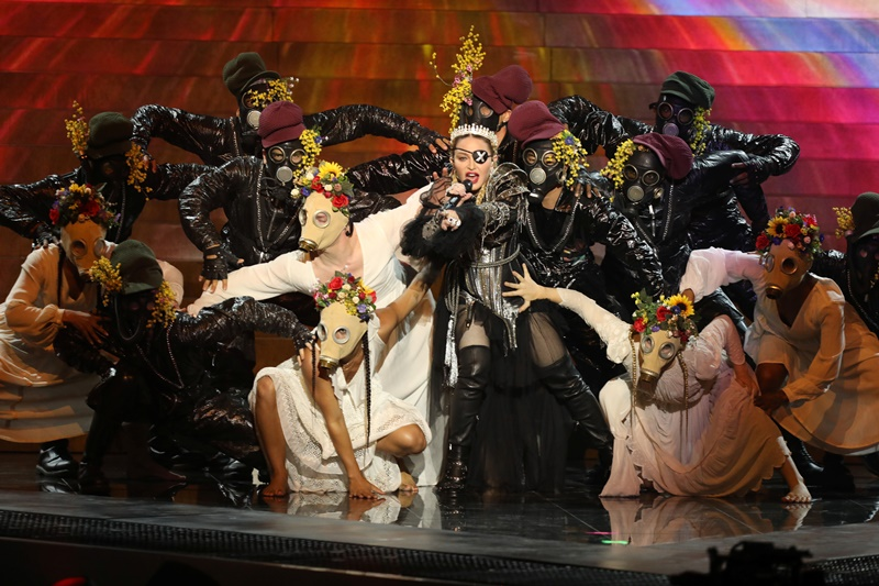 Madonna performs during a guest appearance at the Grand Final of the 2019 Eurovision Song Contest in Tel Aviv, Israel