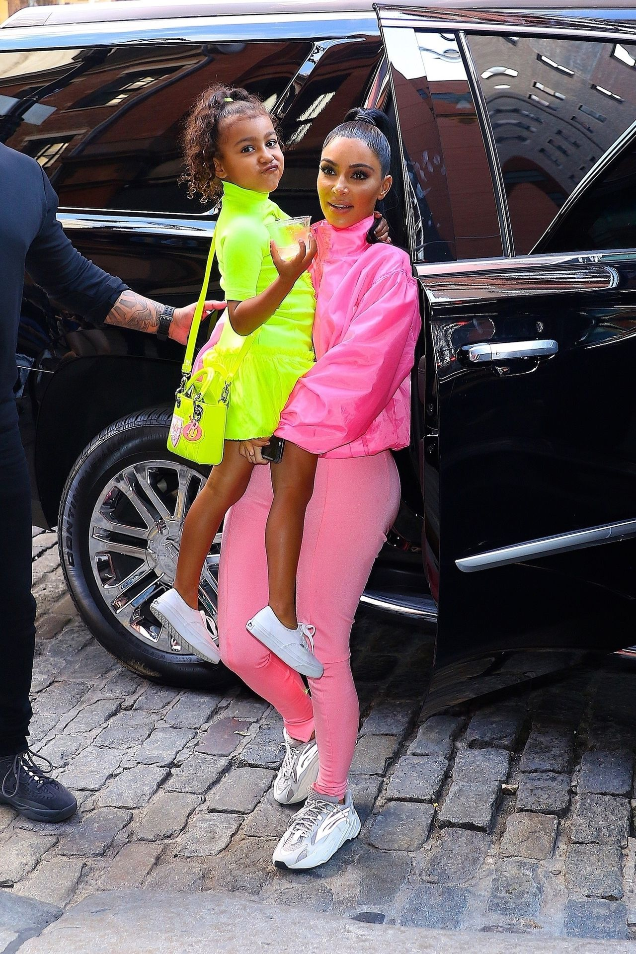 Kim Kardashian and North West light it up in neon! Kim Kardashian, North West