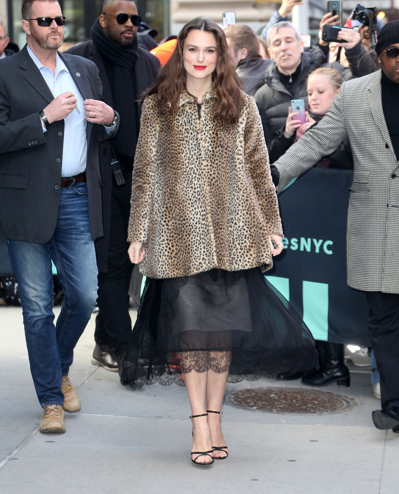 Keira Knightley arrives to AOL Build this afternoon looking stunning Keira Knightley
