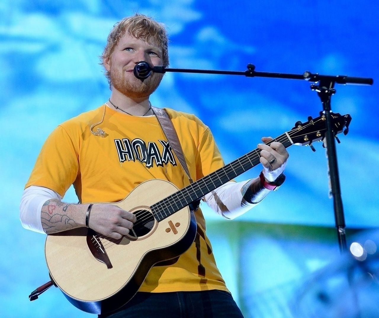 Ed Sheeran performs during his Divide Tour 2019 at Allianz Parque in Sao Paulo Ed Sheeran