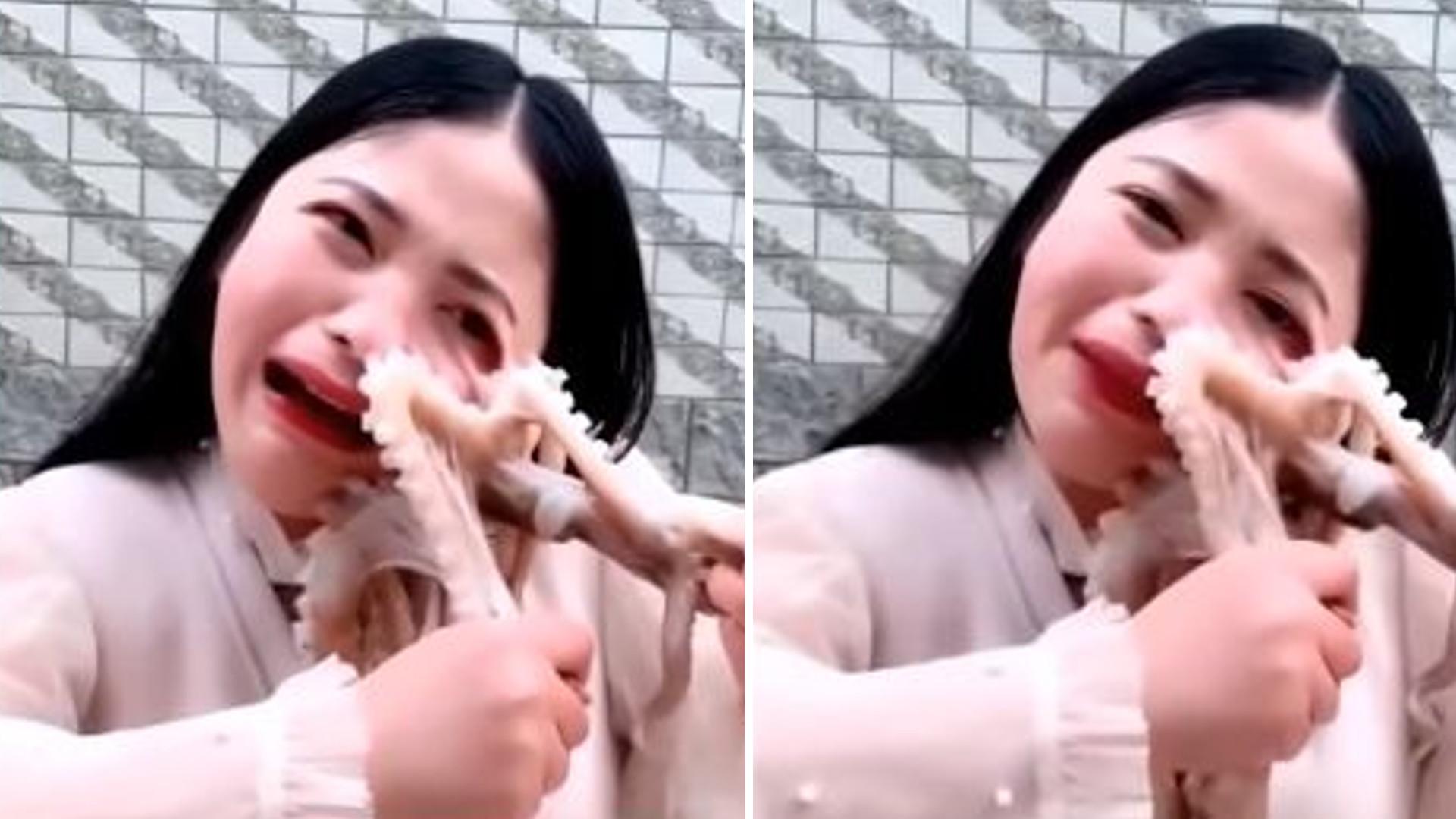 MOCNE. Vlogerka chciała zjeść ŻYWĄ ośmiornicę, więc zwierzę PRZYSSAŁO się do niej (VIDEO)