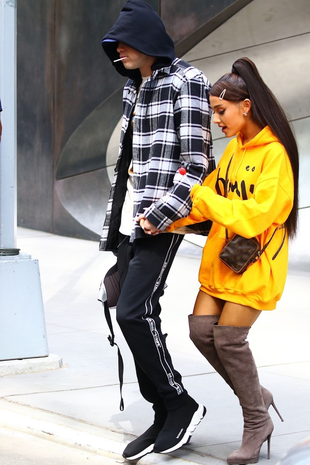 Ariana Grande and Pete Davidson spotted leaving their new home in Chelsea
