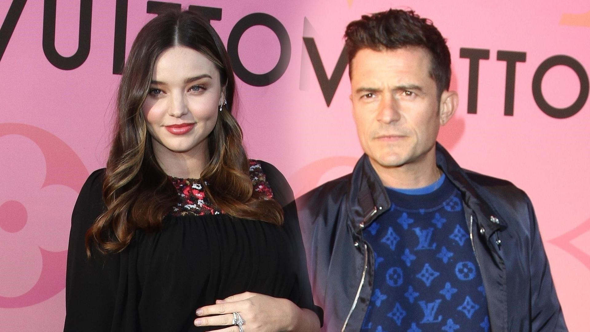 Miranda Kerr z DUŻYM ciążowym brzuszkiem i jej były mąż, Orlando Bloom na tej samej imprezie Louis Vuitton (ZDJĘCIA)