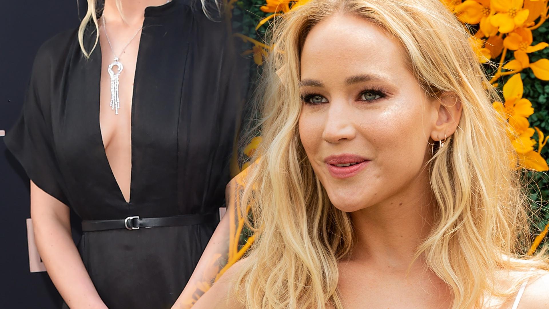 Promienna Jennifer Lawrence w dwóch kreacjach. Różowa suknia wygląda przepięknie! (ZDJĘCIA)