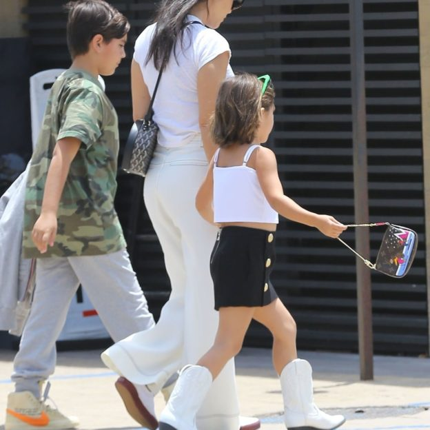*EXCLUSIVE* Kourtney Kardashian and her kids Penelope and Mason enjoy lunch at Nobu Kourtney Kardashian, Mason Disick, Penelope Disick