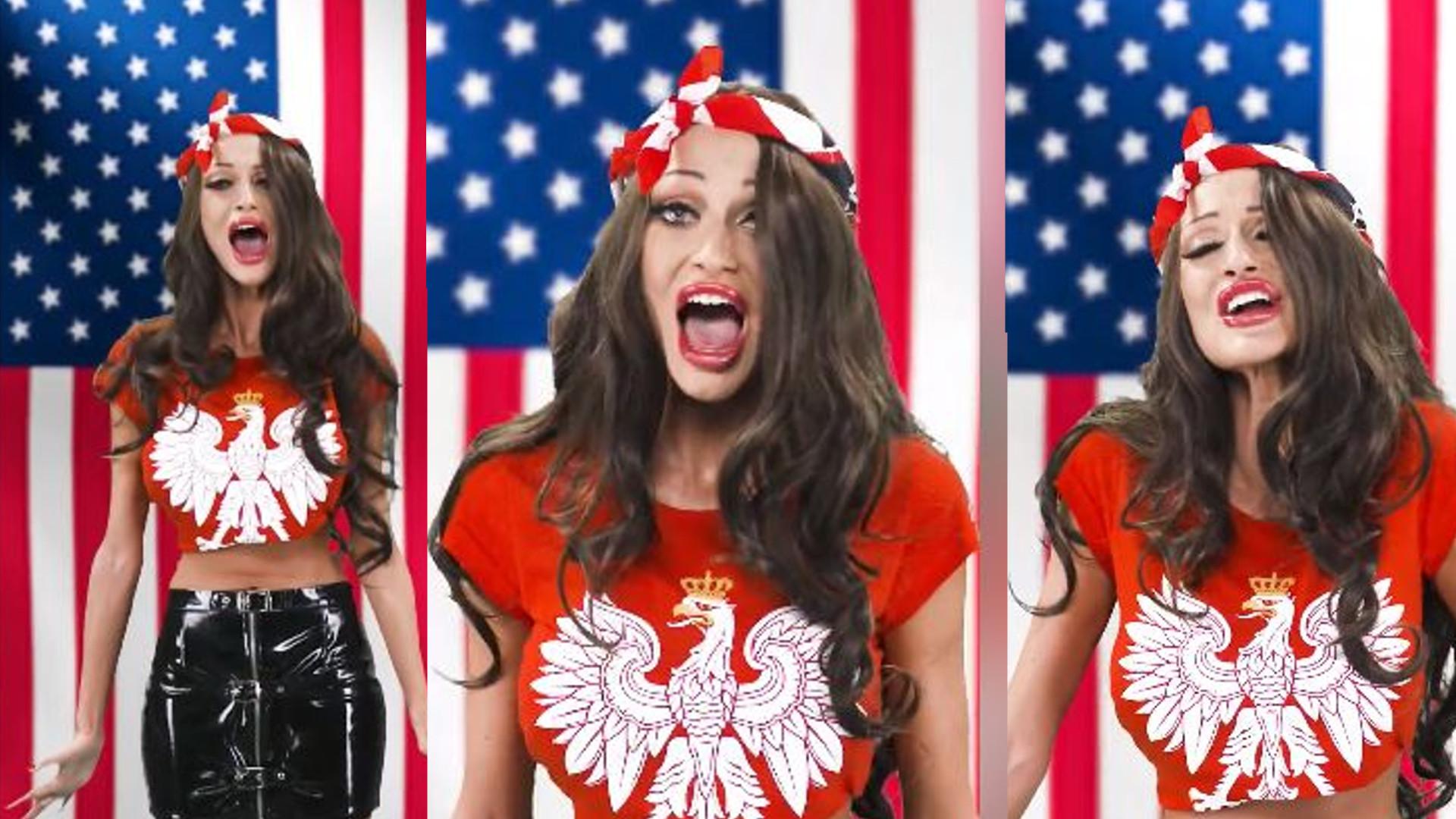 MASAKRA! Małgorzata Godlewska śpiewa hymn Ameryki. Internauci: Po tym na bank NIE ZNIOSĄ WIZ!