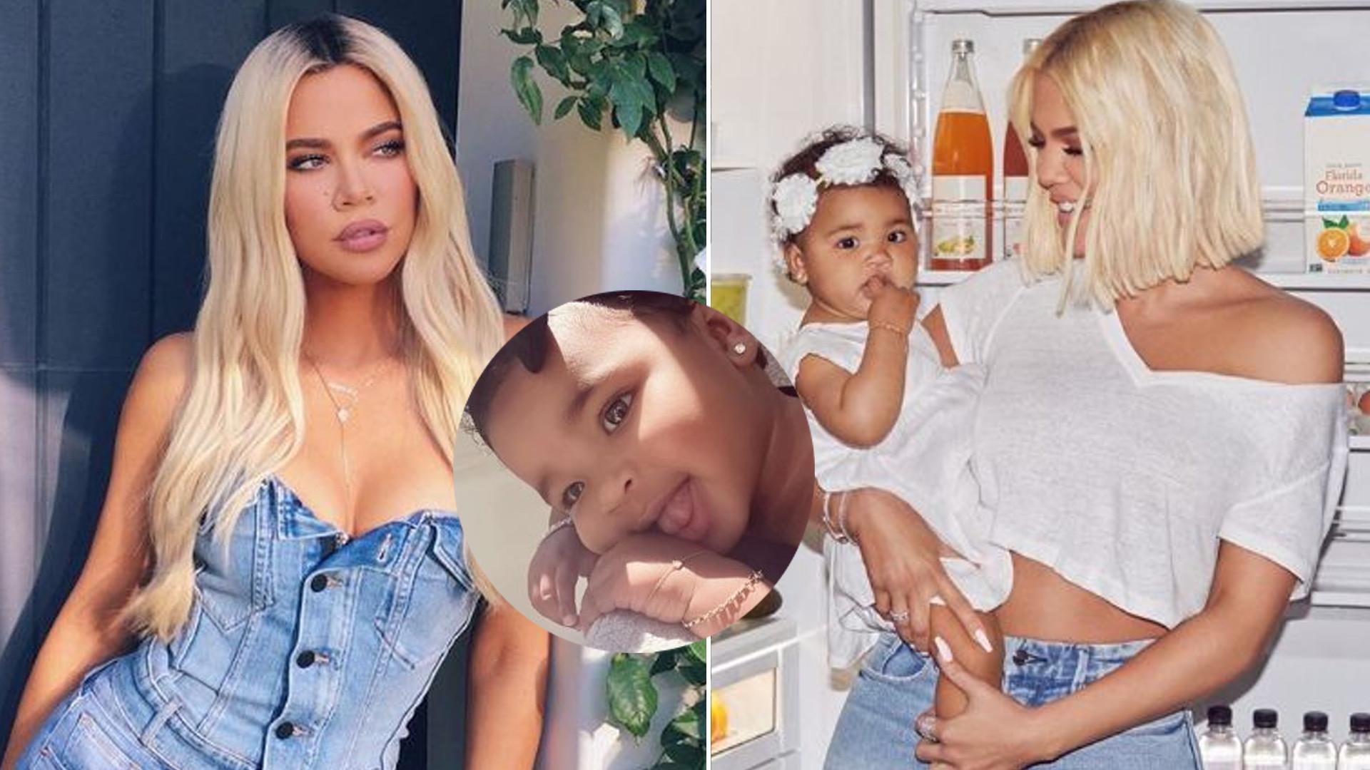 Roczna córeczka Khloe Kardashian nosi kolczyki i złotą biżuterię
