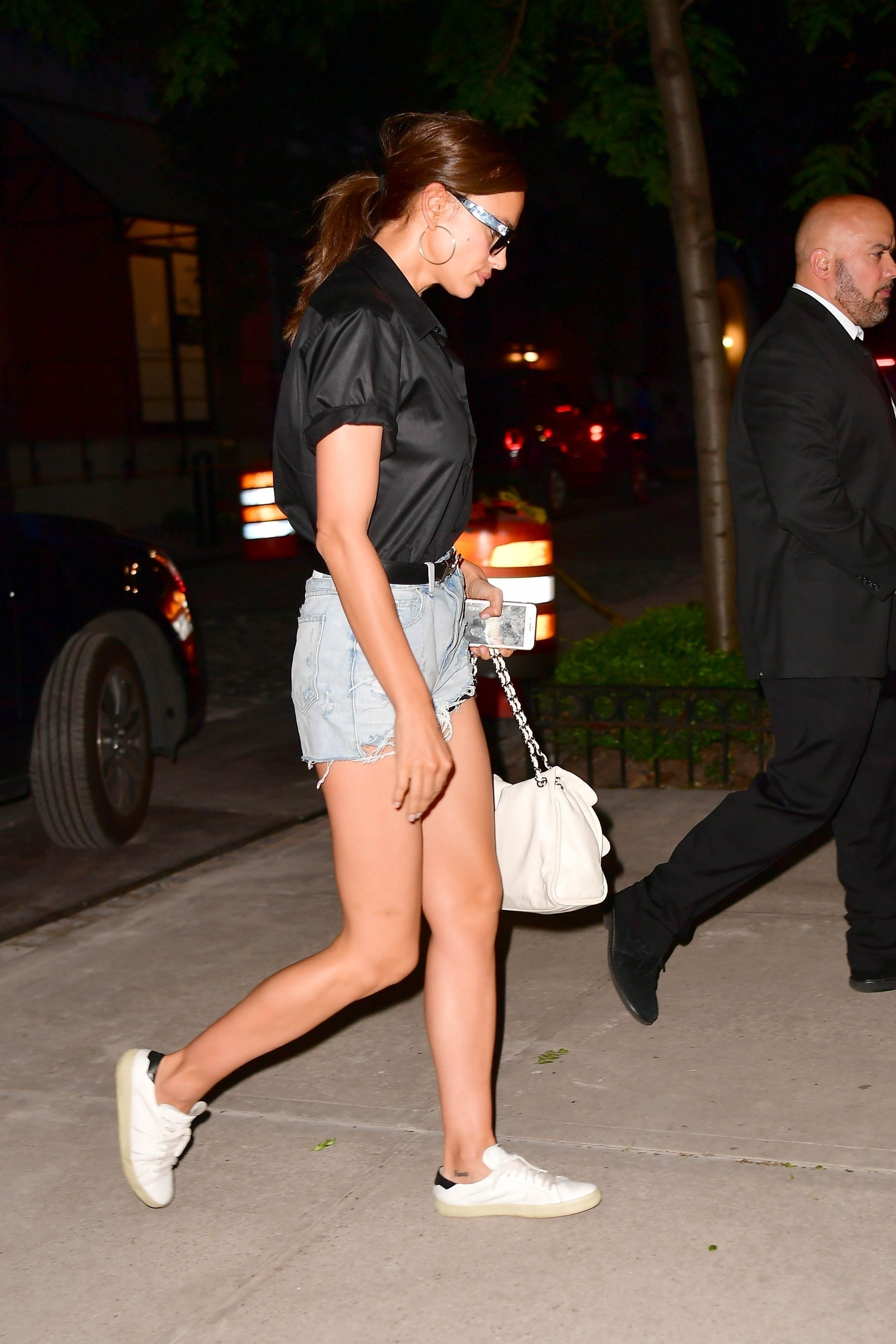 *EXCLUSIVE* Sexy Irina Shayk wears short shorts arriving home after a visit to her therapist's office
