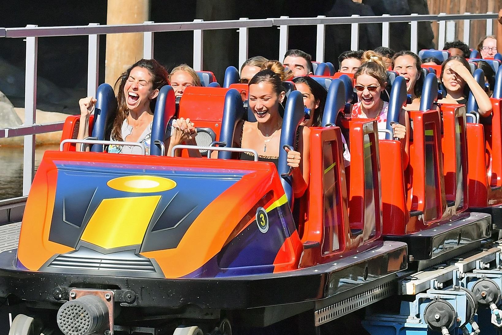 ** PREMIUM EXCLUSIVE RATES APPLY **Gigi Hadid and Bella Hadid celebrate their friend Leah's birthday at Disneyland