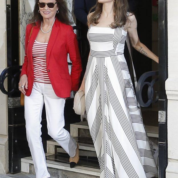 Angelina Jolie Jacqueline Bisset leaving their hotel in Paris