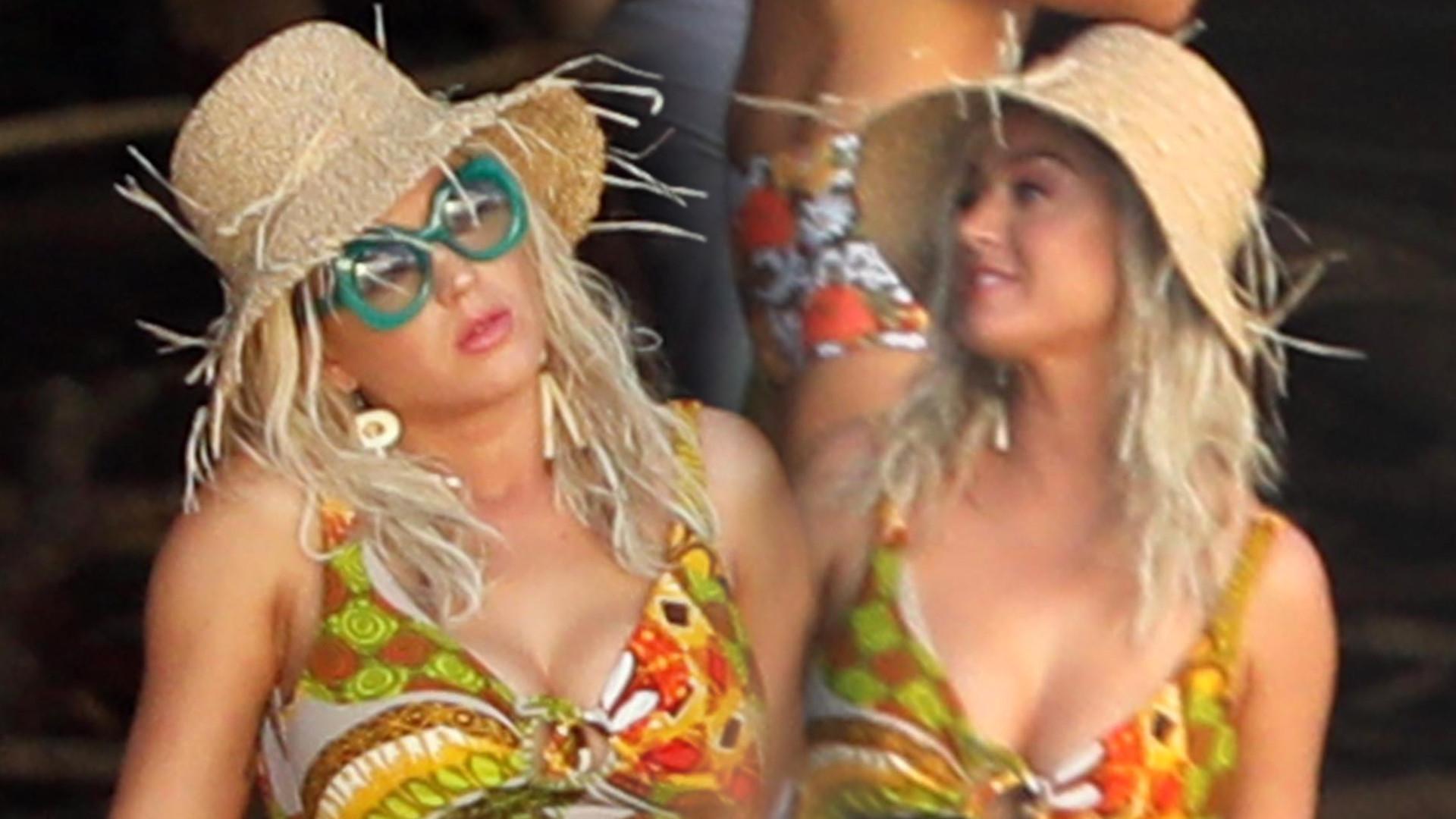 Katy Perry w kostiumie kąpielowym – odsłoniła CIĄŻOWY brzuszek? (ZDJĘCIA)