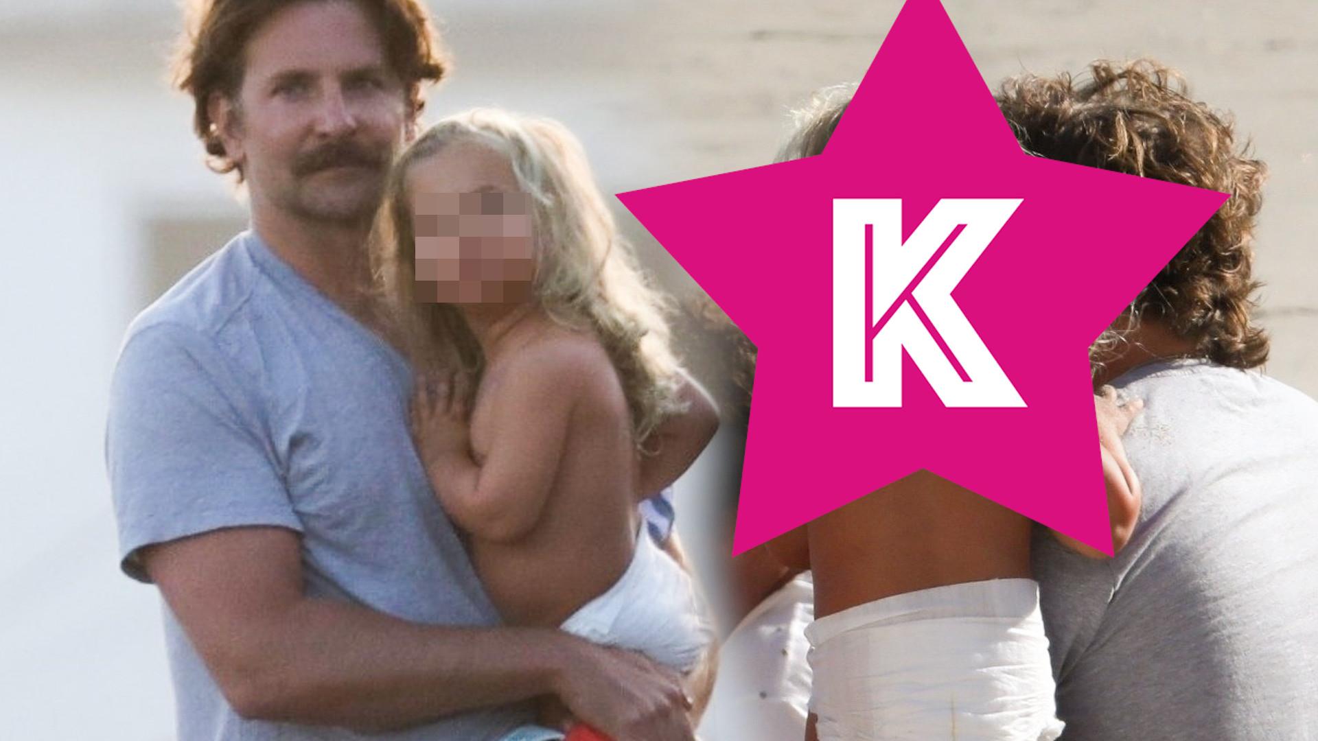 Bradley Cooper z córeczką na plaży – dziewczynka ma piękne, długie włosy (ZDJĘCIA)