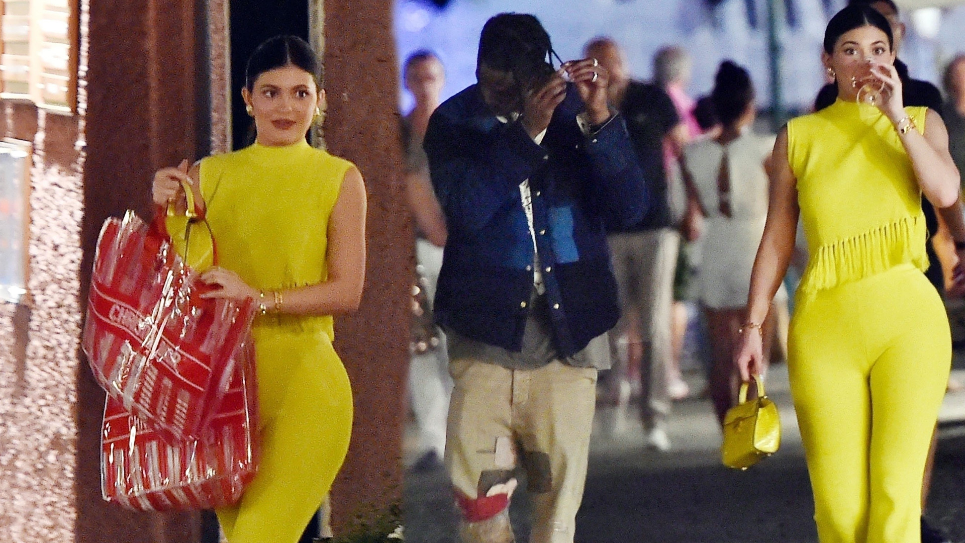 Zakochana Kylie Jenner jak żółty ptak przemierza ulice Positano z Travisem Scottem