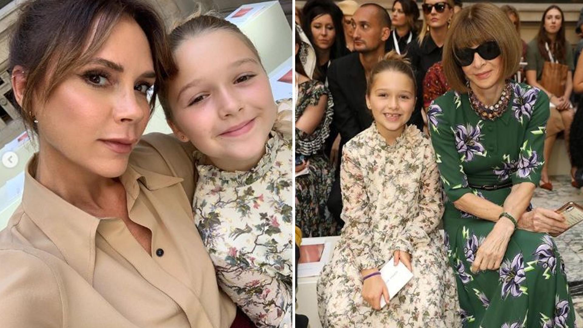 8-letnia córka Victorii Beckham ma super znajomości – na pokazie mamy siedziała z ciocią Anną Wintour