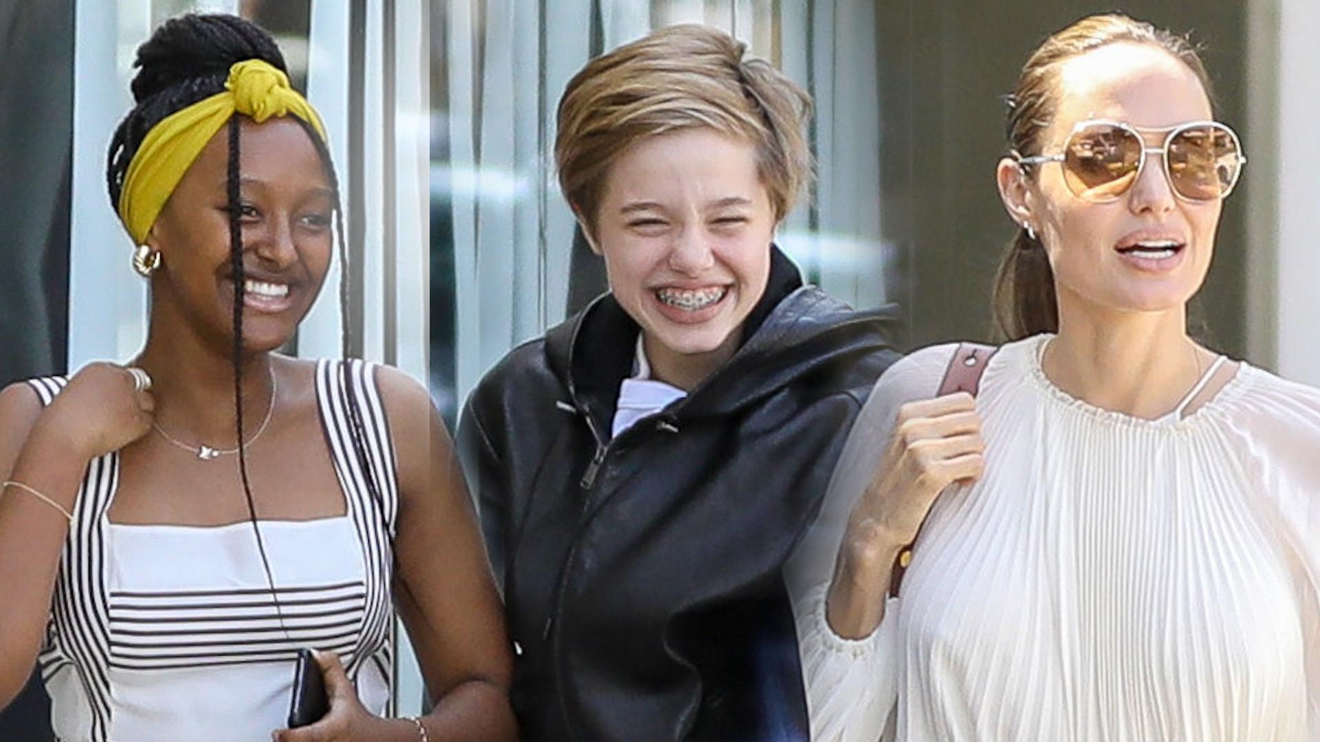 Angelina Jolie zabrała dzieci na imprezę do znajomych. Spójrzcie na stylizację Zahary – niczym Meghan Markle!